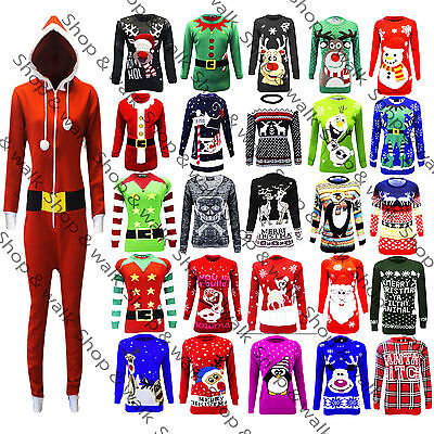Mens Ladies All Xmas Christmas Knitted Long Jumpers Shirts Sweaters Jersey Tops