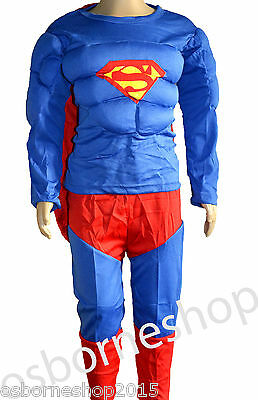 Superhero Superman Muscle Padded Kids Child Fancy Party Boys Costumes