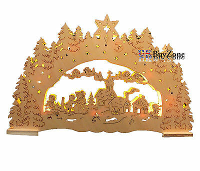 Wooden Crafted LED Light Up Christmas Festive Nativity Scene Xmas Decoration