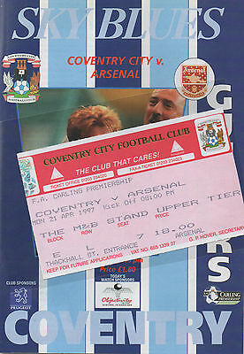 COVENTRY CITY v ARSENAL, 21st April 1997, Match Day Ticket & Programme EXCELLENT