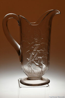 RARE 4Q 1800's CAT UP A TREE w/DOG by Unknown CRYSTAL Water Tankard Pitcher