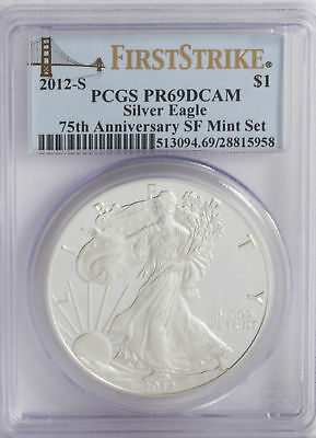 2012-S PR69 DCAM PCGS 1oz Proof American Silver Eagle  First Strike Bridge Label