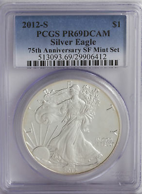 2012-S 1oz Proof American Silver Eagle PR69 PCGS Blue 75th Anniv SF Mint Set