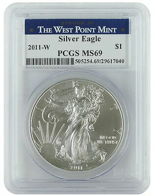 2011-W PCGS MS69 1oz Burnished American Silver Eagle (West Point Mint Label)