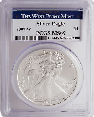 2007-W PCGS MS69 1oz Burnished American Silver Eagle (West Point Mint Label)