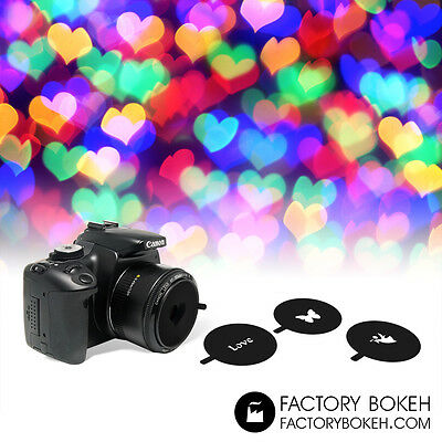 Universal Kit of Shapes Bokeh for lens 50mm, 52mm filter thread.