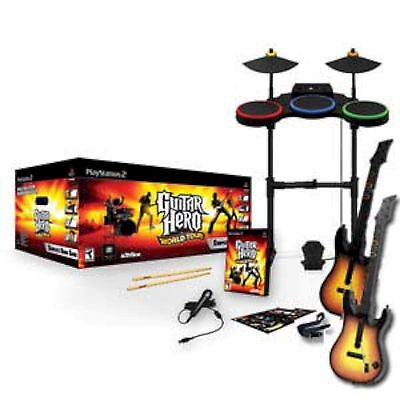 PS2 Guitar Hero WORLD TOUR w/2 GUITARS Band Set drums game playstation-2 Used