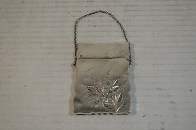 Antique Gorham American Sterling Silver Card Case with Etched Flowers
