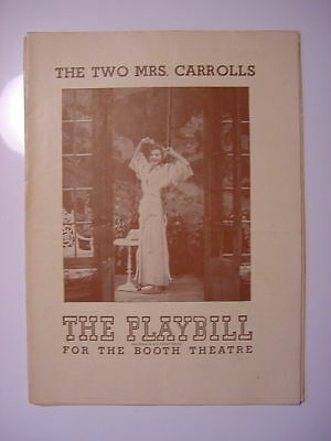 Playbill Booth Theatre September 3 1944 THE TWO MRS CARROLLS