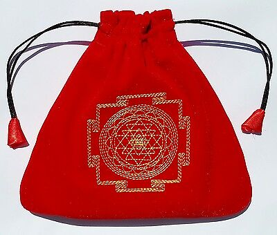 Red Velvet Drawstring Tarot Bag Lined Geometry Large