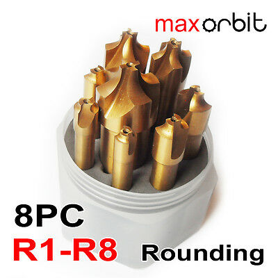 8PC Radius Milling Cutter Titanium HSS Formed End Mill Rounding Corner R1-R8