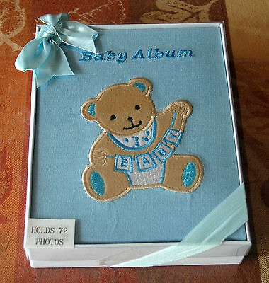 "Linen Covered ""BABY ALBUM"" BOY PHOTO Book with Teddy Bear - 72 Photos 6""x4"""