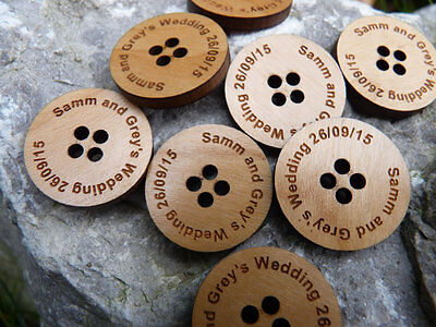 Personalised Wood Buttons - Wooden Christmas / Xmas / Festive buttons gift