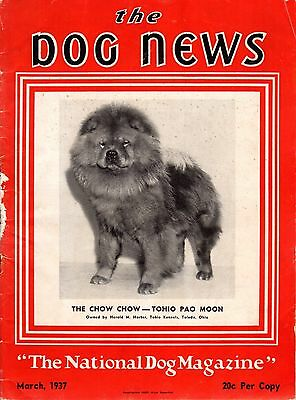 Vintage Dog News Magazine March 1937  Chow Chow Cover