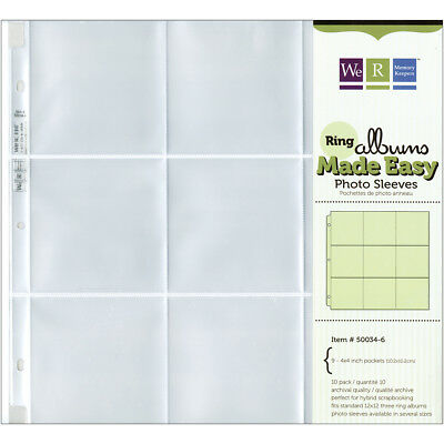 """We R Ring Photo Sleeves 12""""X12"""" 10/Pkg-Nine 4""""X4"""" Pockets by We R Memory Keepers"""