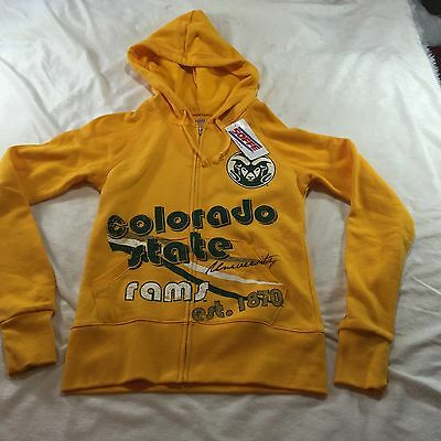 Youth Soffe NCAA Colorado State Rams Yellow Full Zip Hooded Jacket Sz Small NWT