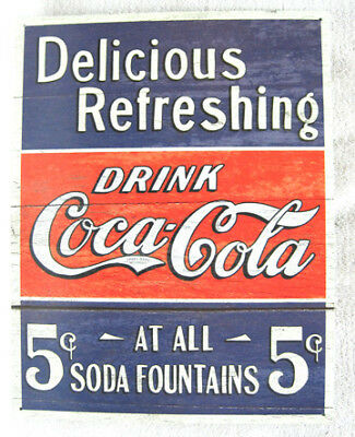 Delicious Refreshing- Drink Coca-Cola 5 Cents - Metal Sign, New!