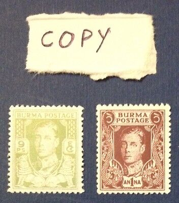 Burma Postage Replica Of 9 Ps & 1 Anna Splendid Rare Most Actrative