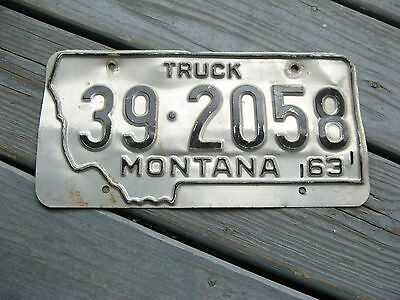 1963 63 Montana Mt Truck Trk License Plate Nice Tag Buy It Now Original Conditio