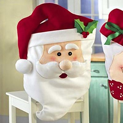 Adorable Mr Santa Christmas Kitchen Dining Table DIY Decor Chair Back Cover