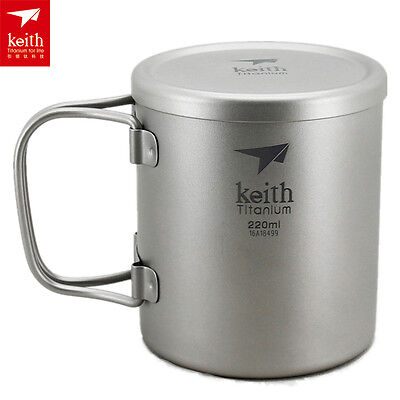 Keith Double-wall Titanium Cup Water Cup Camping Mug Picnic Cup 83g 220ml KS813