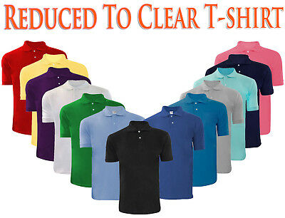New Mens Plain Poly Cotton  Pique Polo Ribbed Collar T- Shirt Casual PK Top