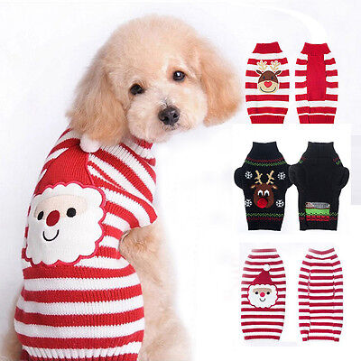 Pet Christmas Sweater Striped Dog Clothes Puppy knitwear Apparel for Dogs & Cats