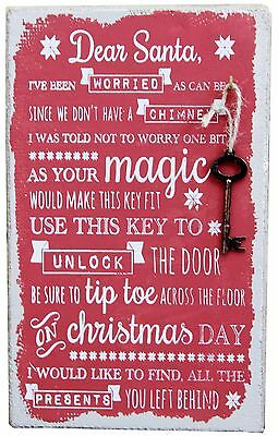 Father Christmas Stop Here Magic Santa Key Hessian Xmas Hanging Wall Sign Plaque