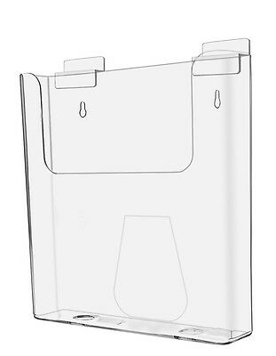 "Clear Acrylic Wall-Mount Slatwall Brochure Holder for 8.5""w Literature"