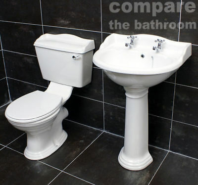 Ryther Traditional 600mm Basin Sink and Toilet Set Bathroom Suite Close Coupled
