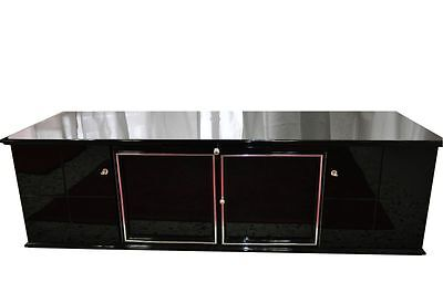 Black Art Deco Lowboard Piano Lacquer With Glass Shelves