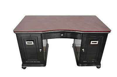 Wonderful Art Deco Desk With Bordeaux Red Leather Plate