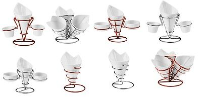 French Fry Cone With White Porcelain Red Chrome Finish Stand In 4 Styles New