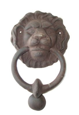 G69: Heavier Lion's Head Door Knocker from Cast Iron, in Country House Style