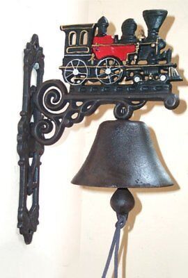 G62: Wall Bell Train, Steam engine, Cast iron, bell In Country House Style
