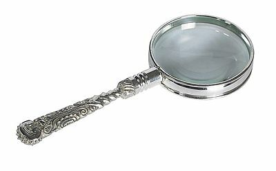 G464: Antique Magnifying glass in Baroque Style, Brass silver