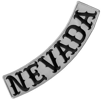 "Vegasbee® Nevada Reflective Embroidered Iron-On Patch Biker Low Rocker 12"" Usa"
