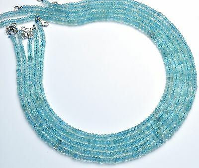 """Natural Gemstone Faceted Aquamarine 4 to 6MM Rondelle Beads Necklace 18"""""""