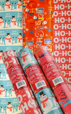 Christmas Gift Wrap Paper 3 Rolls x 20M (60 Metres) *** Amazing Value ***