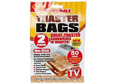 REUSABLE TOASTER TOASTED TOASTIE SANDWICH BAGS POCKETS NON STICK twin pack