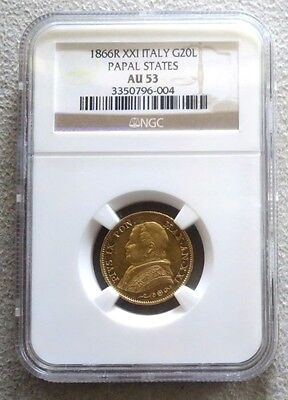 1866 Gold Italy Papal States 20 Lire Ngc About 53 Pius Ix