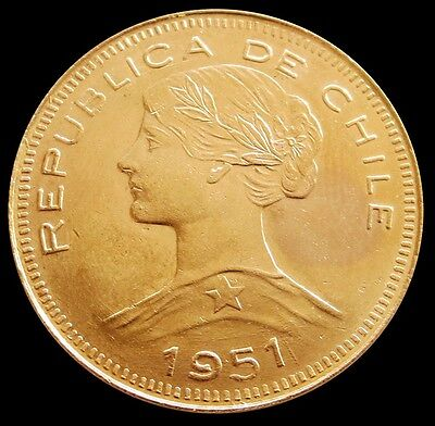 1951 So Gold Chile 100 Pesos Coin  Uncirculated Condition Santiago Mint Read *