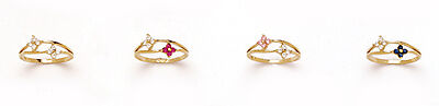 14k Yellow Gold Multicolor CZ Flowers Baby Ring Size 3
