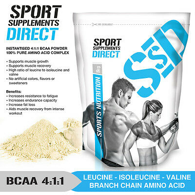 1Kg Pure Bcaa 2:1:1 Instantised Powder - Premium Product - Unflavoured & Pure