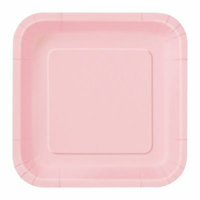Light Pink Small Square Paper Plates Pack Of 16 Party Baby Shower Supplies