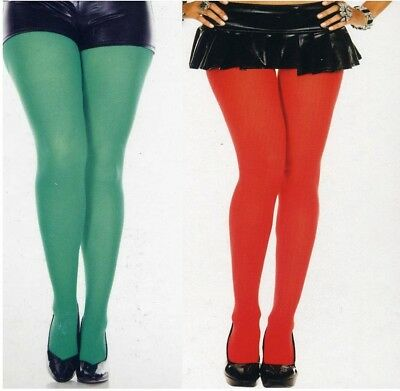 Music Legs 747 Elf Tights Opaque Nylon Plus Size XL Queen Kelly Green or Red