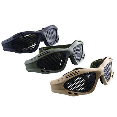 Tactical Eye Protective Safety Goggles With Metal Mesh Sport Airsoft Glasses