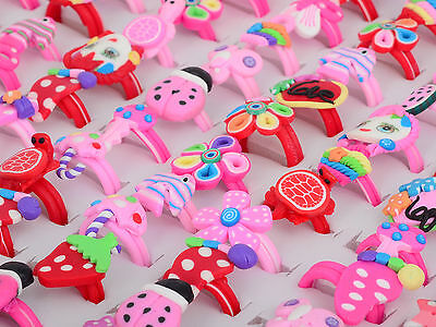 UP 5/10/30Pc Wholesale Jewelry Mixed Lots Kids Children Polymer Clay Finger Ring