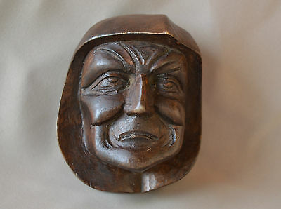 French Antique Brittany Hand Carved Beech Wood Sculpture - Man Face Head