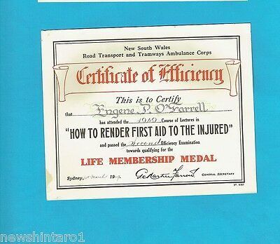 #T54.  1949  Nsw Road Transport & Tramways  Ambulance  Corps Certificate